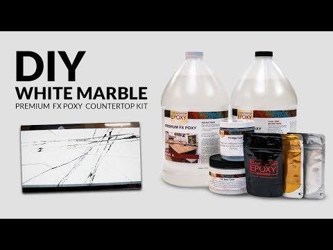DIY White marble epoxy countertop kit how to