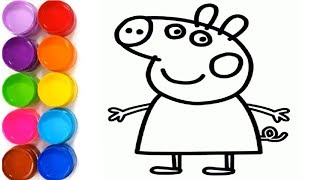 Glitter Peppa Pig coloring and drawing for Kids, Toddlers | Baby Kids TV