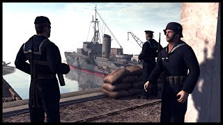 KRIEGSMARINE NAVAL BASE SIEGE! Ampihbious Ranger Assault - Men of War RobZ Realism Mod Gameplay