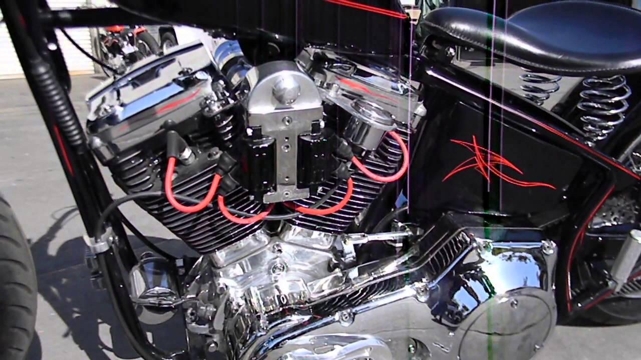 Harley custom, rigid frame, springer, stroker evo - YouTube