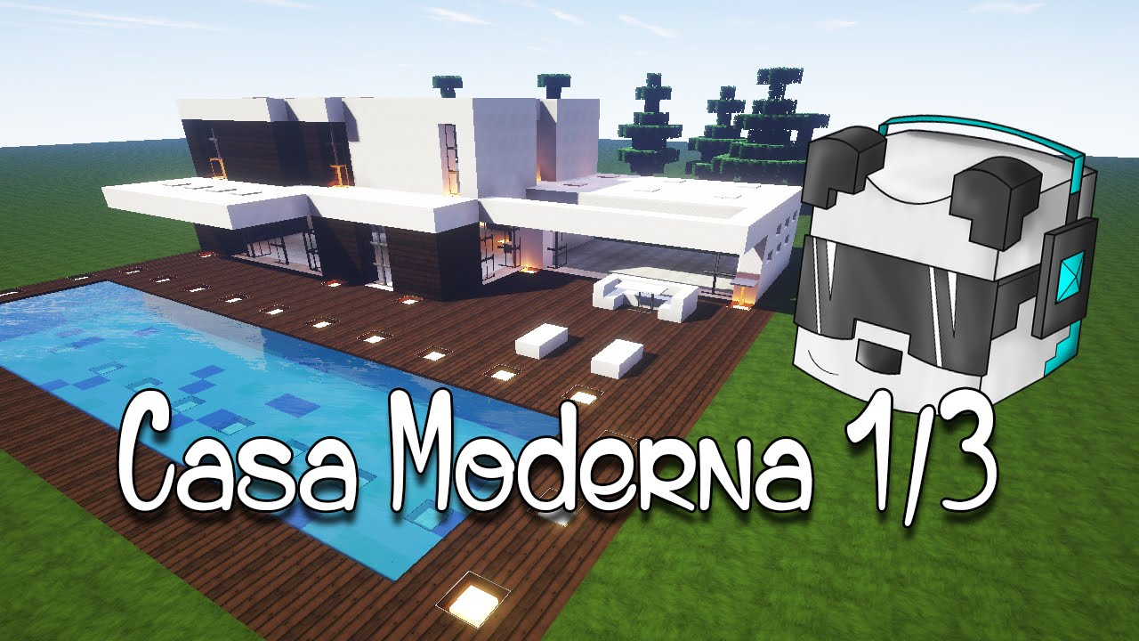 Minecraft tutorial casa moderna 1 3 youtube for Casa moderna 1 8
