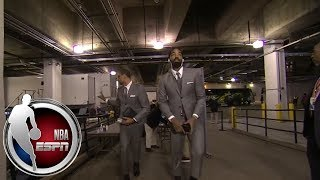 LeBron James, Cavaliers arrive for Game 3 vs. Pacers wearing matching gray suits | NBA on ESPN