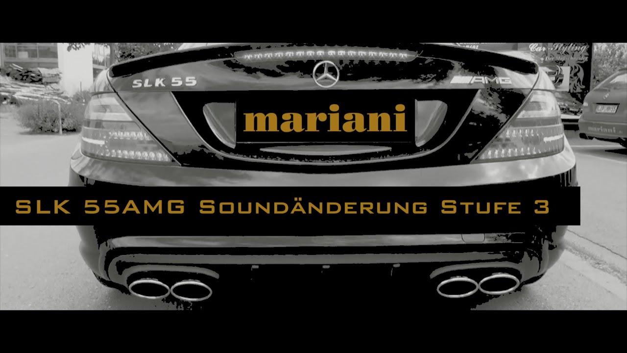 sportauspuff extrem sound mercedes slk 55 amg r172 mariani. Black Bedroom Furniture Sets. Home Design Ideas