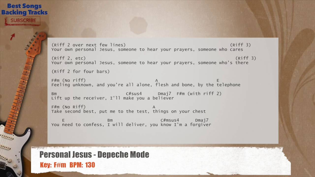 Personal Jesus Depeche Mode Guitar Backing Track With Chords And