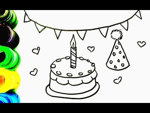 cómo dibujar y colorear un pastel de cumpleaños - Aprender librea ...
