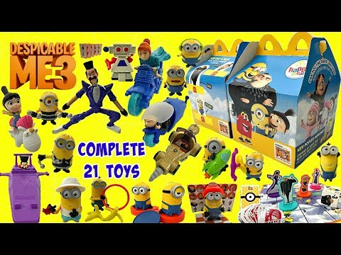 2017 MCDONALDS DESPICABLE ME 3 FULL SET OF 21 HAPPY MEAL MINIONS MOVIE TOYS UNBOXING & REVIEW VIDEO
