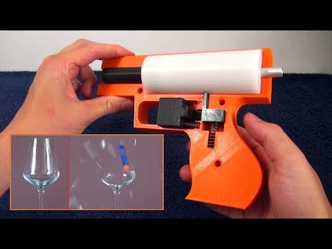 3D Printed Nerf Gun - Heavy spring version - Easily Breaks a Wine Glass