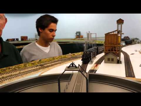 Son Emilio driving the UP Big Boy 4-8-8-4 onto the club layout turntable