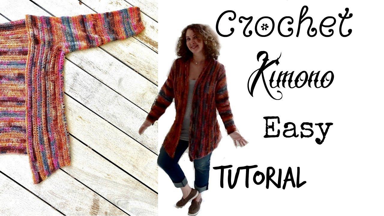 143a0b8e0 Easy Crochet Kimono Cardigan - YouTube
