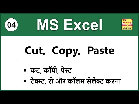 How To Use Cut, Copy And Paste Options In MS Excel 2016/2013/2010/2007 In Hindi - Lesson 3