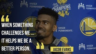 "Warriors rookie Jacob Evans ""getting familiar"" with Golden State plays"