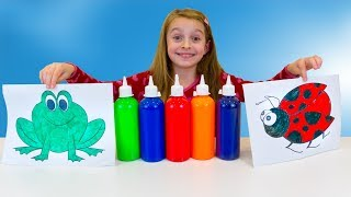 Alicia coloring animals with hand paint