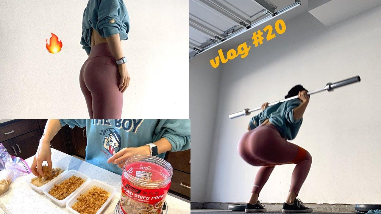 【vlog#20】居家车库虐臀虐腿 | what i eat in a day to stay fit | 维持期一般一天吃多少卡 | 自己做豆乳盒子嘿嘿