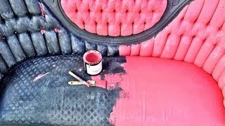 How To Paint And Distress Your Upholstered Sofa With Cece Caldwell Chalk Paint!