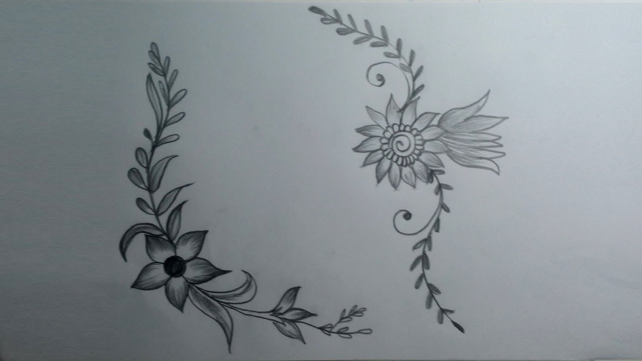 How To Draw A Flower Designs Simple Flower Designs Pencil Shadding And Sketch Drawing Youtube