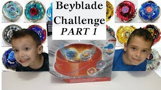 (part 1)Beyblade Challenge σβούρες σε πίστα Ραφαήλ vs Ιωάννης παιχνίδια για παιδιά ελληνικά greek