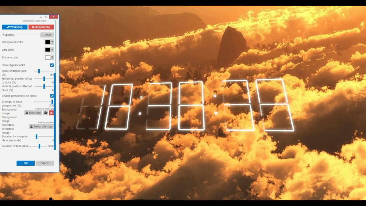 wallpaper engine - interactive customizable digital clock - youtube