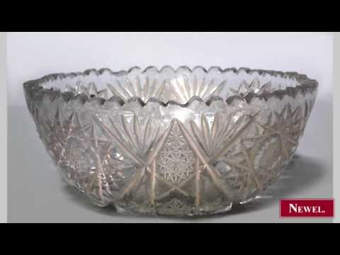 Antique American Victorian cut crystal bowl with geometric