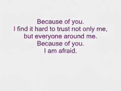 Kelly Clarkson - Because Of You (Lyrics) - YouTube