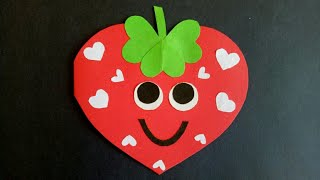 Strawberry card Project idea for kids how to make birthday card Valentines crafts for kids cute card