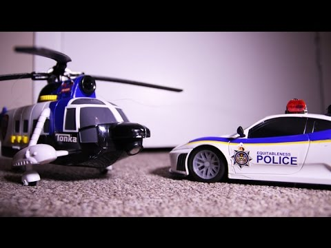 Police Helicopter VS Police Car TOY CARS Action!  Tonka FUN!