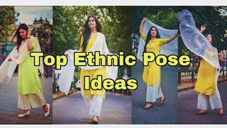 Top Poses For Girls In Ethnic Wear Pose With Dupatta Suit \u0026 Kurtis Pose MYClicks  Nstagram.