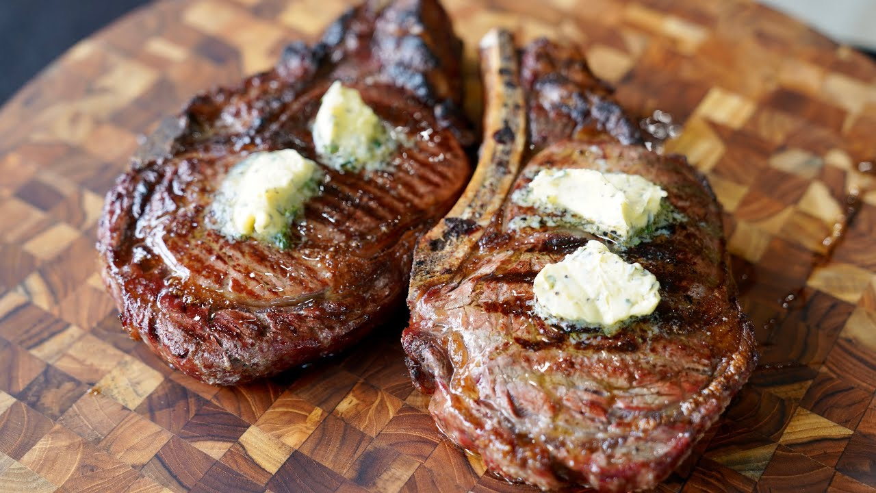 Reversed Seared Ribeyes | With Roasted Garlic Compound Butter #ribeye #butter #grilling