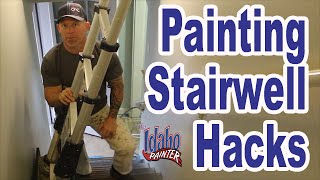 PAINTING A STAIRWELL.  Handyman hacks painting in high & tight spaces.