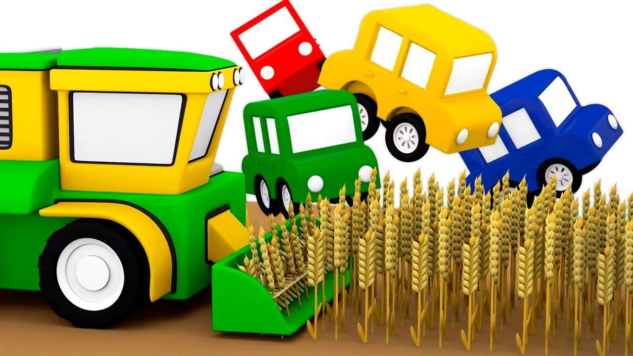 La cosechadora. 4 coches coloreados. Dibujos animados para niños en español.