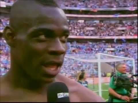Balotelli and Micah Richards Swear On Live TV post on pitch FA Cup Final Interview 14th May 11