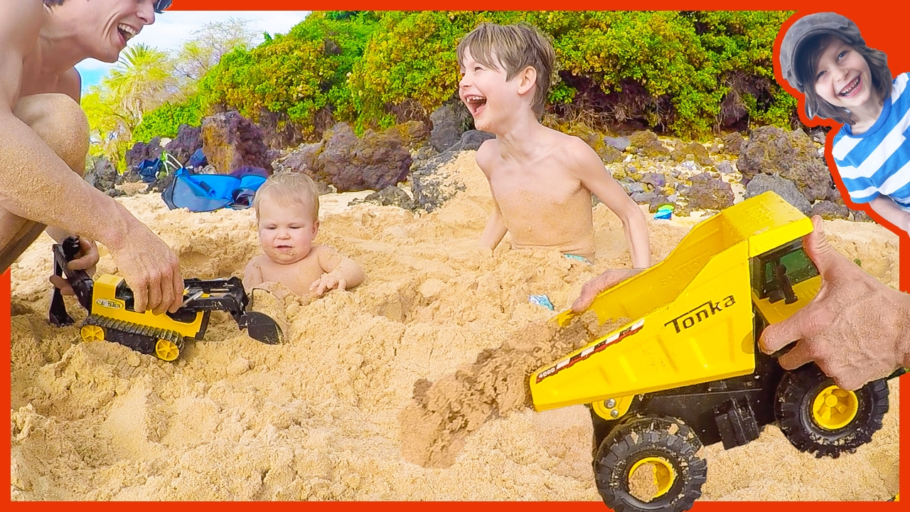Toy Dump Truck Buries Axel And River Youtube