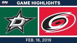 NHL Highlights | Stars vs. Hurricanes - Feb 16, 2019