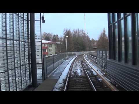 Helsinki Metro. Vuosaari-Ruoholahti. Takaohjaamovideo. Rear cockpit.