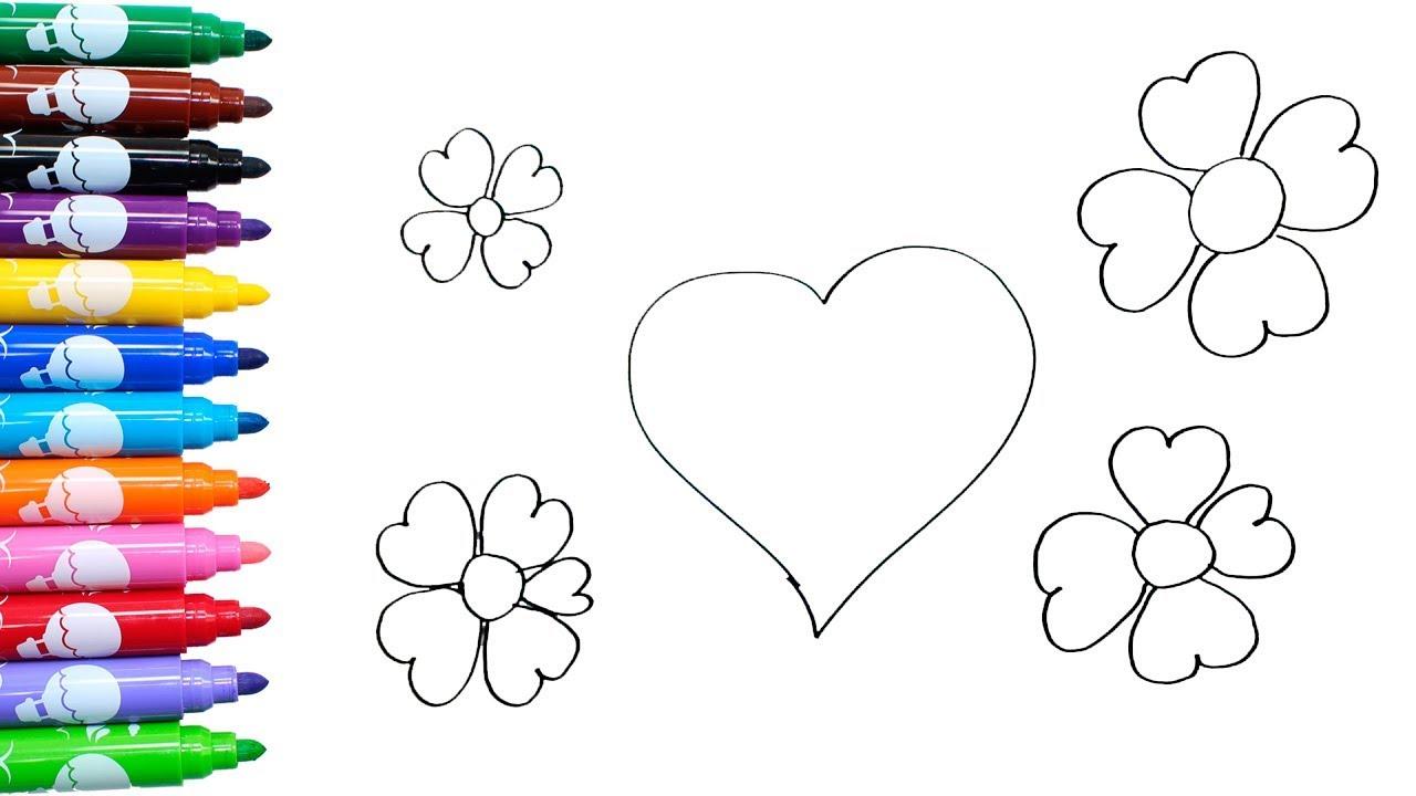 Como Desenhar E Colorir Coracao E Flores De Coracao Tv Kids
