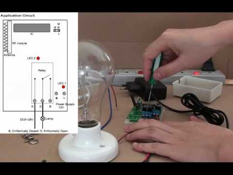 12 volt relay wiring diagram craftsman garage door opener sensor rf latching remote control switch light on/off - youtube