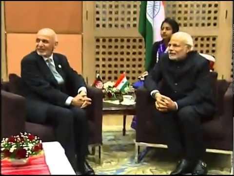 PM Modi meets Afghanistan President Ashraf Ghani at SAARC Summit in Kathmandu, Nepal