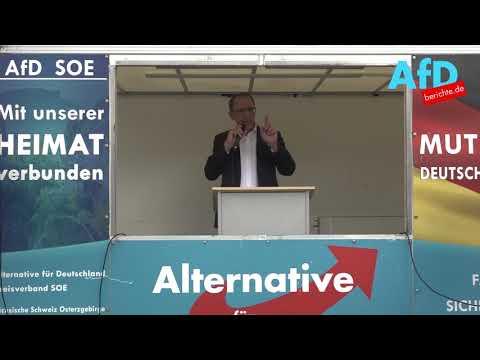 Jörg Urban spricht in Sebnitz