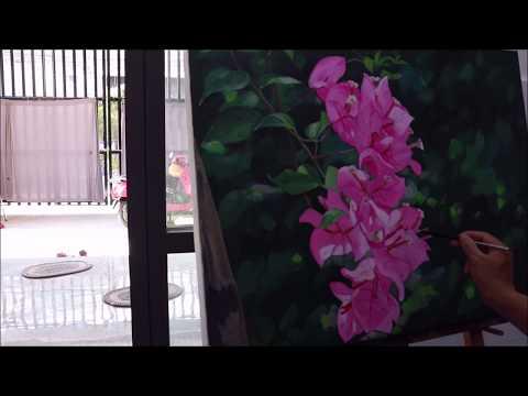 PHƯƠNG PHÁP VẼ HOA GIẤY SƠN DẦU, oil painting flowers