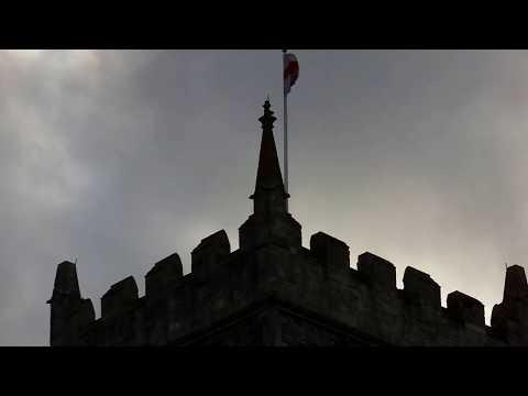 'English' Flag flutters in Castle Park, Bristol, UK