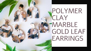 Polymer Clay Gold Leaf Marble Earring Tutorial | Polymer Clay Marble Beginner Technique