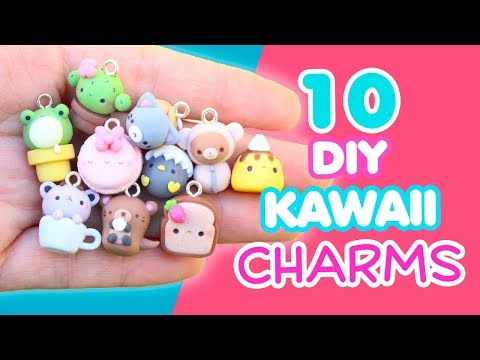 10 DIY KAWAII CHARMS - POLYMER CLAY TUTORIAL