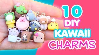 10 DIY KAWAII CHARMS - POLYMER CLAY TUTORIAL