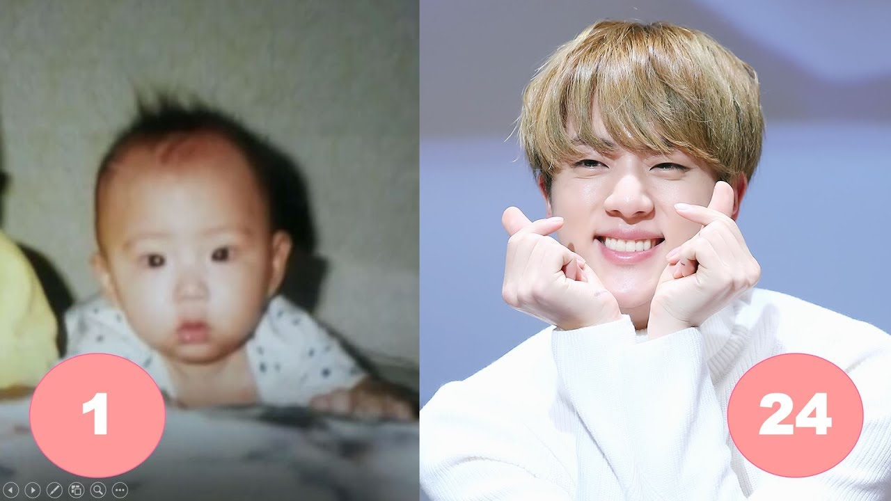 Rap Monster Cute And Funny Wallpaper Jin Bts Childhood From 1 To 24 Years Old Youtube