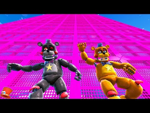 ANIMATRONIC ROCKSTAR FREDDY & LEFTY SLIDE DOWN 999,999 FEET! (GTA 5 Mods For Kids FNAF RedHatter)