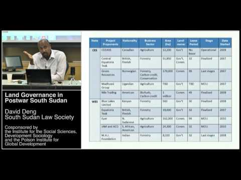 Land Governance in Postwar South Sudan - David Deng, South Sudan Law Society
