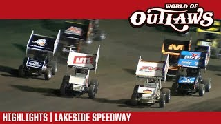 World of Outlaws Craftsman Sprint Car Series Highlights | Lakeside Speedway 10/20/17