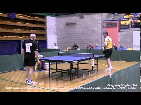 2013 Australian Veterans Table Tennis Champ., O60 Final, Paul Pinkewich (NSW) vs Brian Berry (VIC)