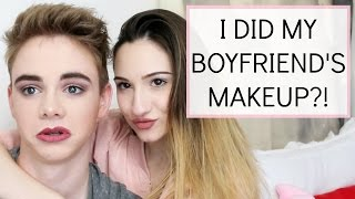 DOING MY BOYFRIENDS MAKEUP FEAT. CORBYN BESSON || BeautyChickee
