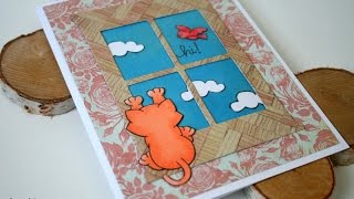 Funny Cat Card Featuring Newton's Nook Designs And Memory Box Window Die