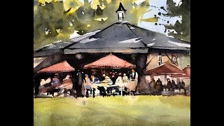 "Advancing with Watercolor: Working in Plein Air - NYC ""Morning Light, Le Pain Quotidien """